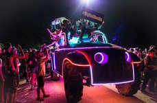 Neon Automobile Installations - The Bonnaroo Art Cars Event Features Art, Music and Dance Pop-Ups