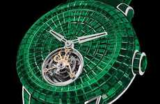 Elegant Emerald Watches - Jacob & Co's Caviar Emerald Tourbillon Timepiece is $2.45 Million