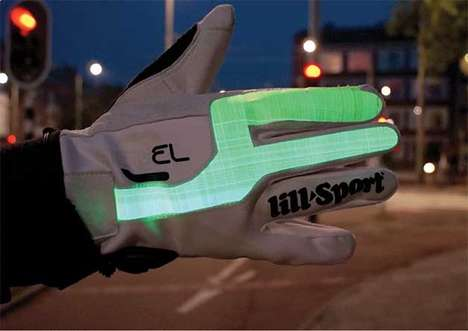 Cyclist Signal Gloves - For Urban Cycling Safety, These Gloves Keep Motorists Informed of Turns