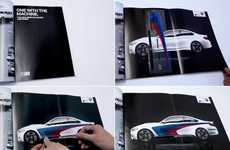 Car Customization Ads - This Printed Car Advertisment Gives a BMW Its Stripes