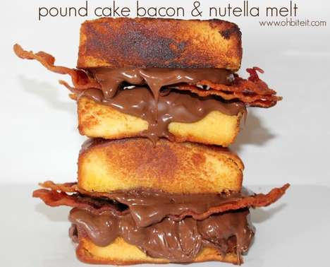 Savory Chocolate Sandwiches - This Bacon and Nutella Melt is Sandwiched Between Pound Cakes