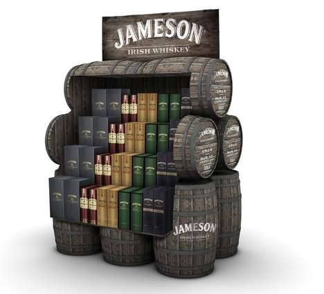 Agricultural Alcohol Displays - This Rustic Jameson Retail Display Uses the Brand's Iconic Imagery