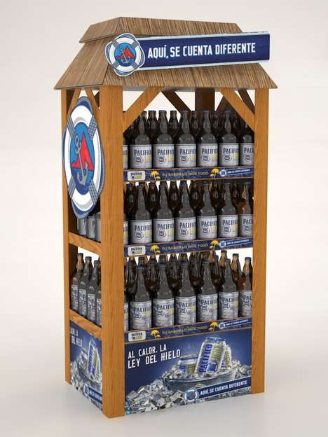 Beach-Evoking Beer Displays - These Pacifico Light Cardboard Displays Are Inspired By Beach Visuals