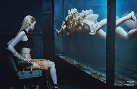 Eerie Hospital Editorials - The March 2015 Feature of Lara Stone for W Magazine is Electrifying