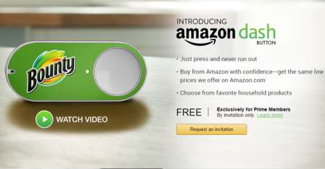 Instant Online Shopping - The Amazon Dash Button Lets Prime Members Reorder Products with a Push