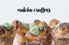 Matcha Croissant Muffins - This Muffin Croissant Recipe has a Matcha Green Tea Powder Cream Filling