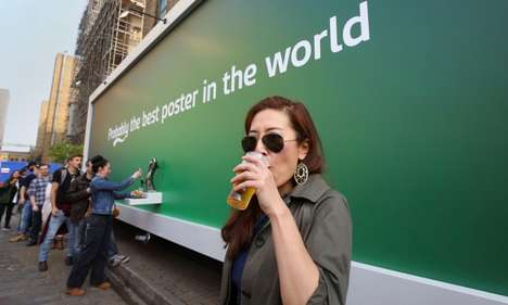 Beer-Dispensing Billboards - Carlsberg's Free Beer Billboard Serves Samples on Tap