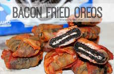 Bacon-Wrapped Cookies - These Deep Fried Oreos were Wrapped in Thinly Sliced Bacon Strips First