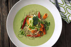 "Veggie-Packed Cold Soups - This Green Curry Recipe is a Chilled ""Noodle"" Bowl with Vegan Ingredients"