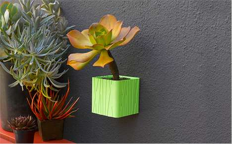 3D-Printed Cube Planters - Cubify's Vertical Gardening Collection Features Wall-Hung Pots