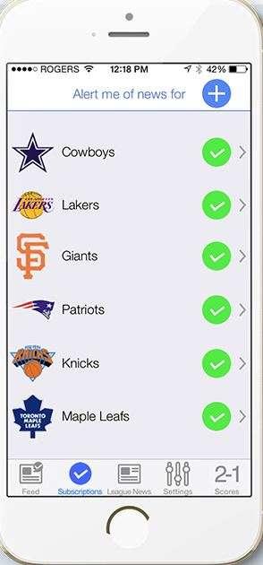 Customizable Sports News Apps