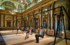 Neoclassical Stone Swing Sets - This Caesarstone Swing Set is a Playful Juxtaposition in Milan