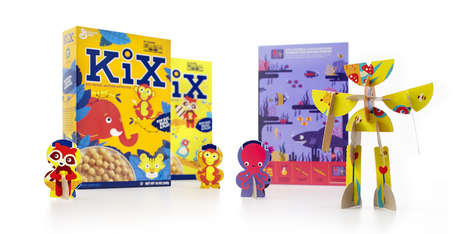 Entertaining Cereal Boxes - The Backs of Kix Cereal Boxes Contain Cutouts for Playtime