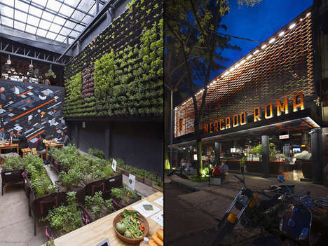 Contemporary Industrial Markets - This Mexico City Restaurant Features a Vertical Vegetable Garden
