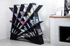Fantastic Fan-Like Bookcases - Web Shelf Comprises Interlocking Ledges Arranged at Different Angles