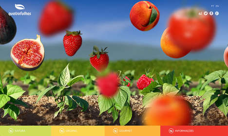 Side-Scrolling Snack Sites - Quatro Folhas' Website Shows a Rotating Supply of Fresh Fruits & Nuts