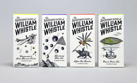 Artistic Tea Packaging - William Whistle's Branding Boasts Illustrated Design Elements