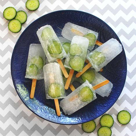 Boozy Cucumber Ice Pops