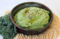 Kale Chickpea Spreads - This Recipe for Kale and Roasted Garlic Hummus has Added Green Power