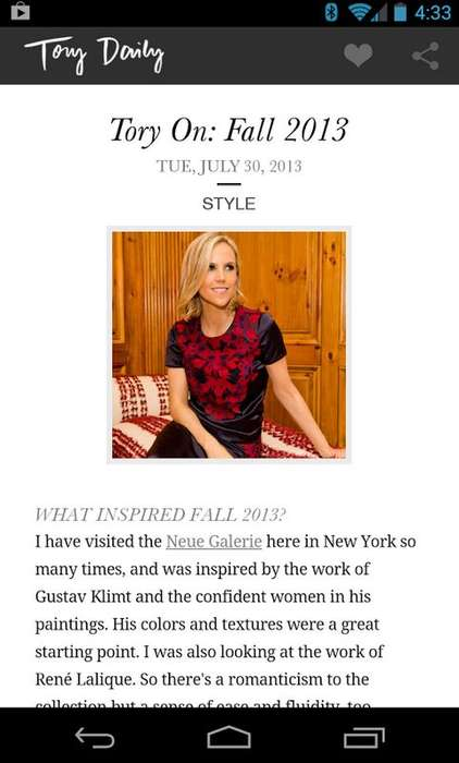 Stylish Lifestyle Apps - The Tory Daily App Celebrates The Inspiration Behind the Tory Burch Brand