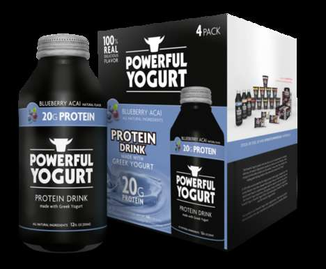 Probiotic Protein Drinks - Powerful Yogurt Features Chocolate, Vanilla and Acai Flavors