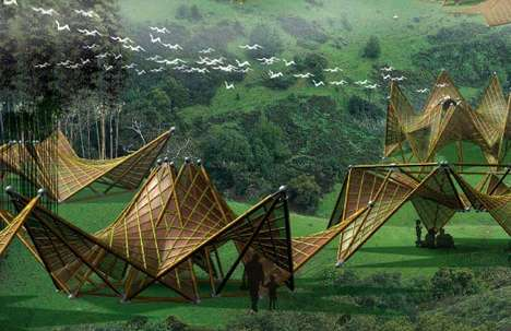 Origami Exo Homes - Foldable Bamboo Green Huts