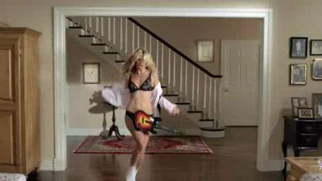 Rockstar Supermodels - Heidi Klum in Her Underwear in 'Guitar Hero' Ad