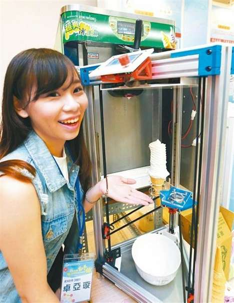 Towering Ice Cream Printers - Chen Liyuan's 3D Printing Ice Cream Dispenser Doles Out Cones Fairly