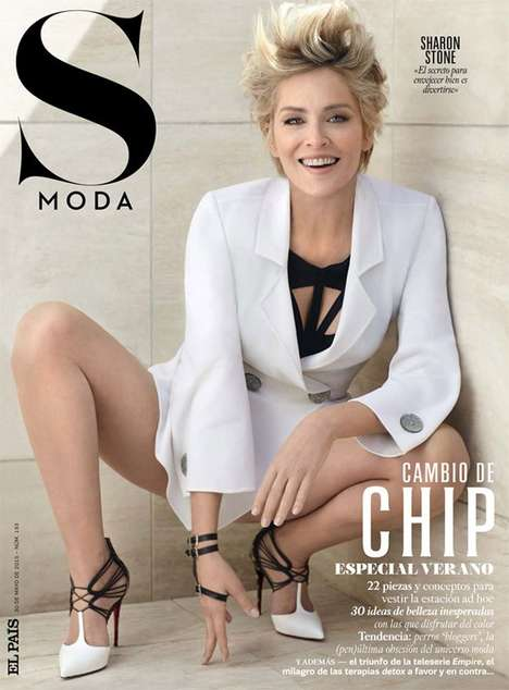 Ageless Actress Editorials - The Sharon Stone S Moda Feature is Couture-Clad