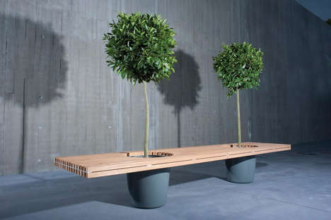 Eco Bench Seating - D-Absolute Design's Outdoor Bench Features Built-In Planters