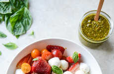 Strawberry Caprese Salads - This Adapted Version of a Classic Summer Dish Includes Pistachio Pesto