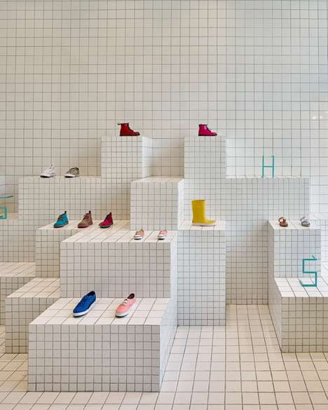 Graph Paper Retail Interiors - This Children's Shoe Store Features Graphical Tiled Displays