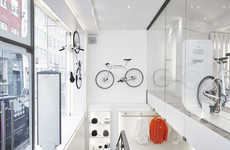 Whiteout Bike Shop Interiors - The New Biomega Store in Copenhagen Features a Stark Interior Design