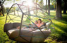 Hanging Geodesic Seats - These Suspended Seats are Perfect for Lounging in the Great Outdoors