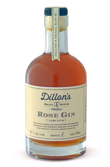 Floral English-Style Gin - Dillon's Rose Gin is Infused with Rose Petals and Sweetened