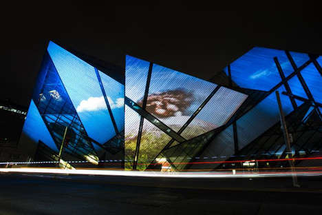 Architectural Volcanic Projections - The ROM Celebrates a Museum Exhibit with a Grand Display