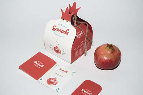 Graphic Pomegranate Packaging - Granada Pomegranate's Branding Encourages Sustainability