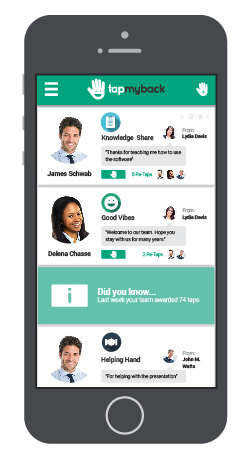 Employee Reinforcement Platforms - The Tap My Back App Encourages Positive Workplace Behavior