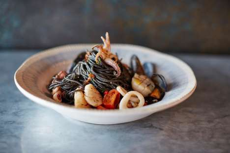 Seafood Spaghetti Menu Items - This Dish by Jamie's Italian UK is Topped with Mussels and Octopus