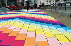 Uplifting Rainbow Walkways - The London Bridge is Turned into a Bright Road by 'Spark Your City'