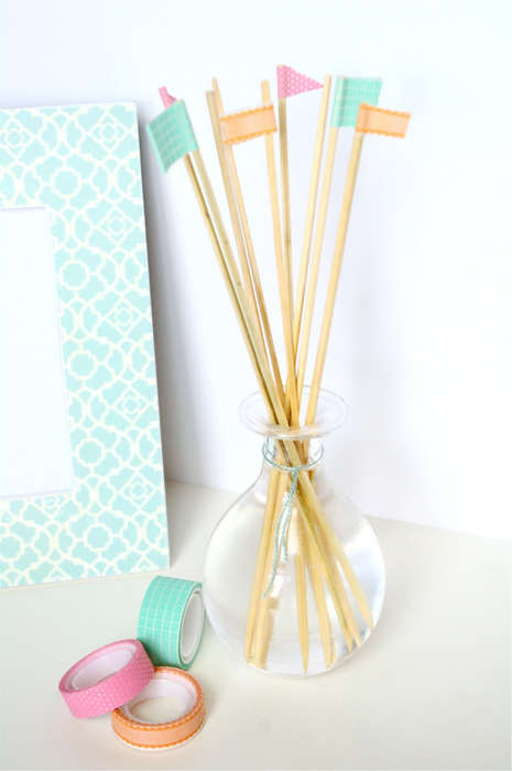 DIY Decorative Diffusers - This DIY Reed Diffuser Project Includes Tiny Triangular Flag Decor