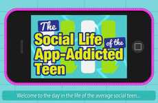 App-Addicted Teen Graphs - This Inforgraphic Outlines the Average Daily Web Activity Among Teens