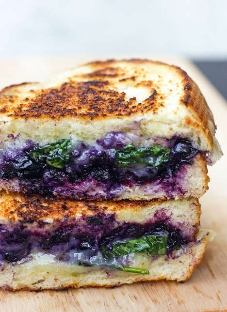 Balsamic Blueberry Sandwiches - This Fruity Grilled Cheese Incorporates Blueberries and Spinach