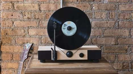Vertical Vinyl Players - The Floating Record Aligns Vinyl Records Vertically
