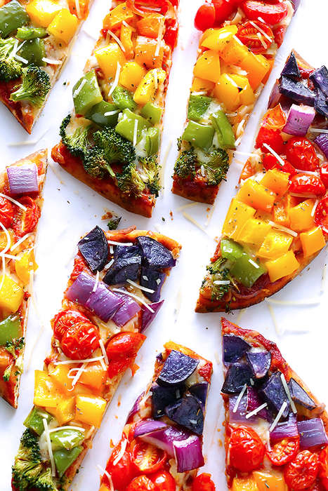 Rainbow Veggie Pizzas - This Flatbread Veggie Pizza Exhibits an Explosion of Colorful Ingredients
