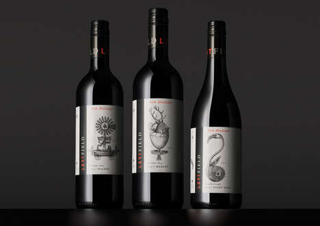 Archaeological Wine Labels - These 'Left Field' Wine Labels Feature Imagined Mythical Creatures