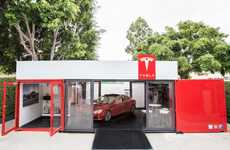 Pop-Up Seaside Dealerships - Tesla's Temporary Car Store Travels to Luxurious Summer Resorts