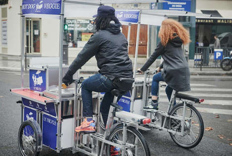 Hotdog-Delivering Bikes - These Food Bicycles Bring Gourmet Veggie Dogs to the Streets of Paris