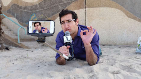 Microphone-Equipped Selfie Sticks