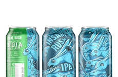 Animalistic Beer Labels - Bootstrap Brewing's Beer Cans are Illustrated with Aggressive Animals